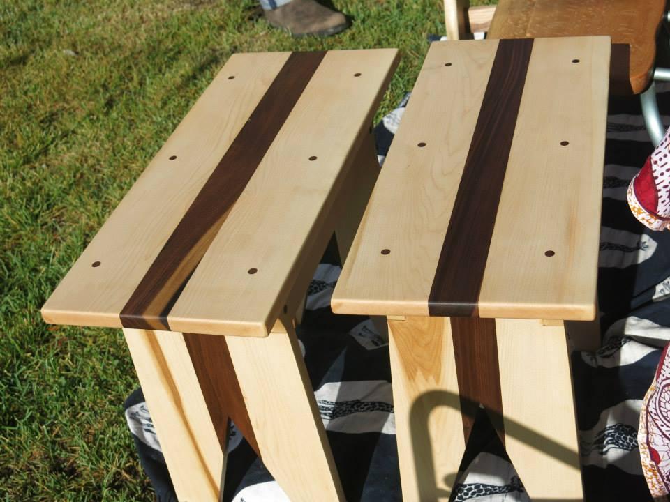 Matching stools. Maple and Walnut