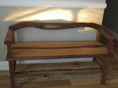 Oak and Walnut entry bench