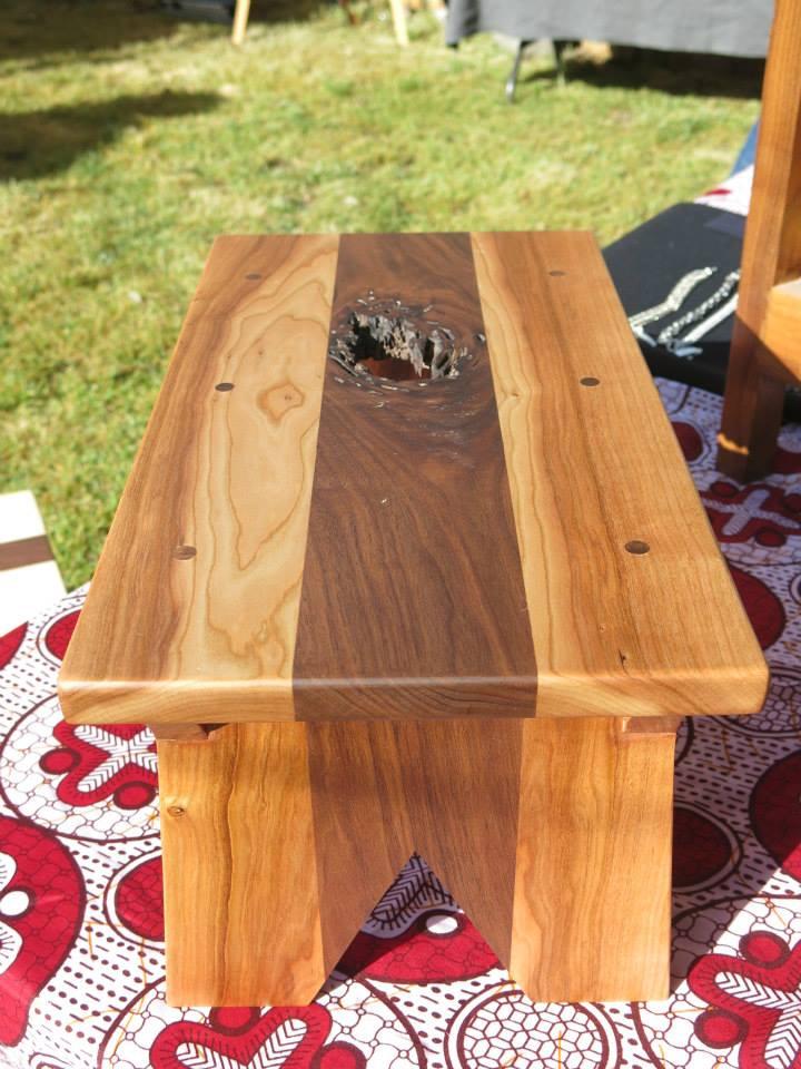 Birch and Walnut low stool.