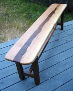 Oak and Walnut table bench. El Portal, Ca