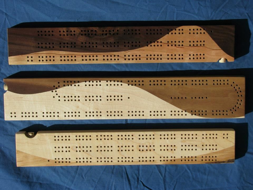 Cribbage Board; Cherry, Maple and Walnut