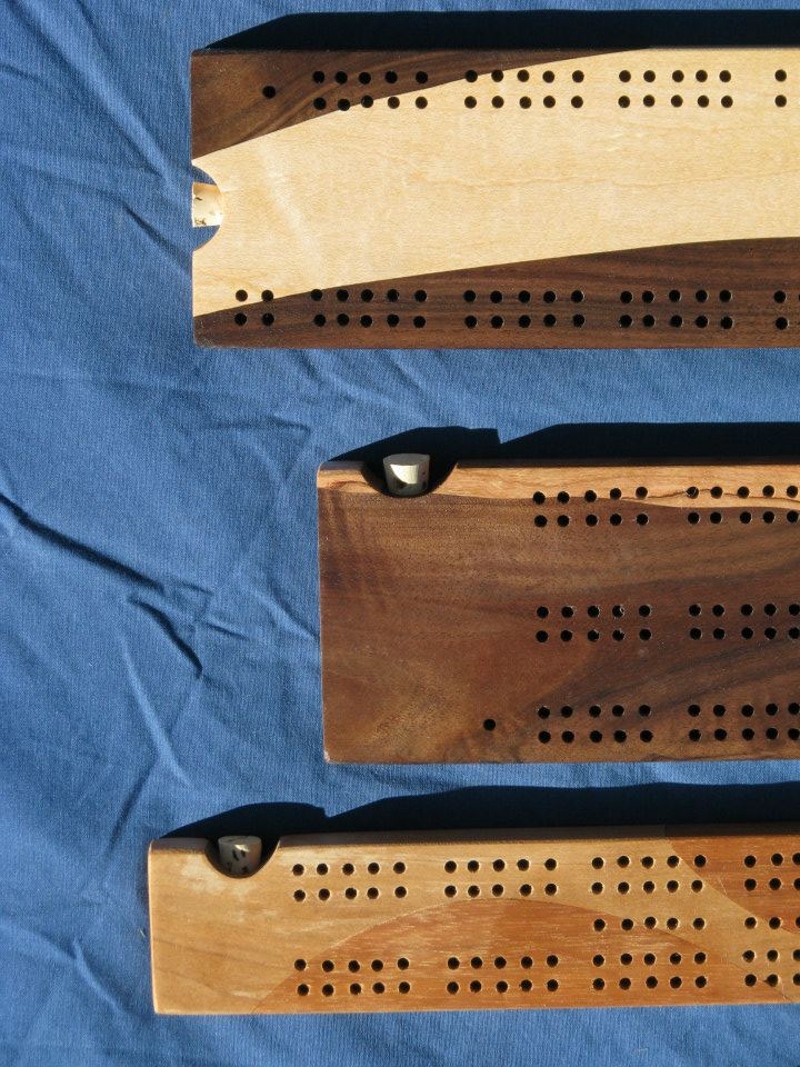 Maple and Walnut cribbage board