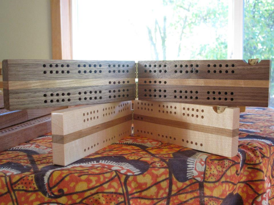 Travel Cribbage Board; Cherry, Maple and Walnut