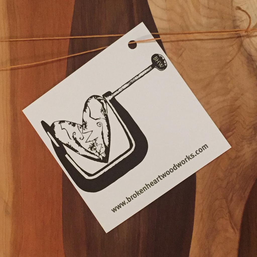 broken heart wood works cutting board business card
